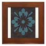 Blue floral Berber print Framed Tile