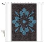 Blue floral Berber print Shower Curtain