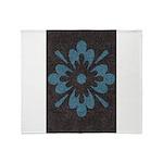 Blue floral Berber print Throw Blanket