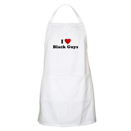 I Love [Heart] Black Guys BBQ Apron