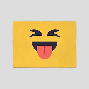 Closed Eyes Tongue Emoji Face 5'x7'Area Rug