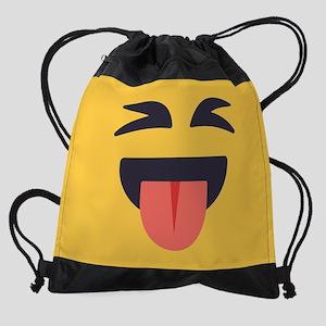 Closed Eyes Tongue Emoji Face Drawstring Bag