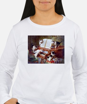 Cats on a Piano; Vintage Poster Long Sleeve T-Shir