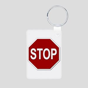 Sign - Stop Aluminum Photo Keychain
