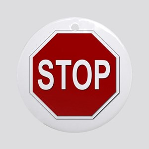 Sign - Stop Ornament (Round)