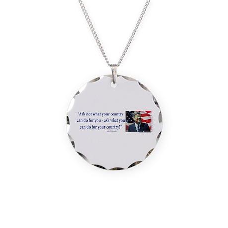 John F Kennedy Necklace Circle Charm