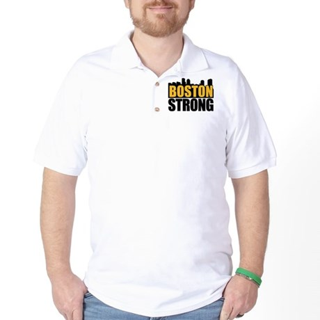 Boston Strong Gold Black Golf Shirt
