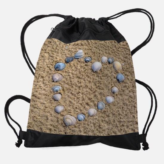 Seashell heart Drawstring Bag