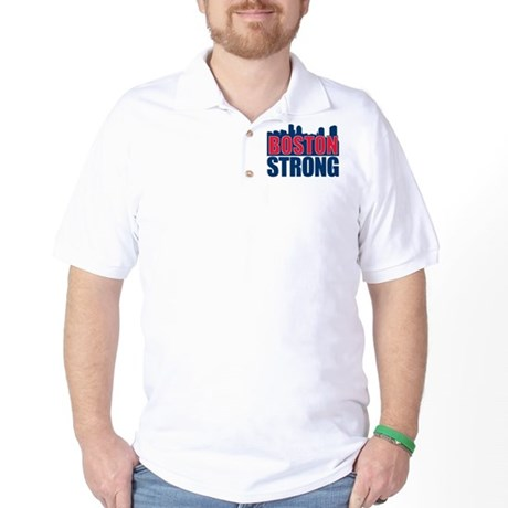 Boston Strong Red Blue Golf Shirt