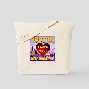Boston Keep Running I Love You Tote Bag