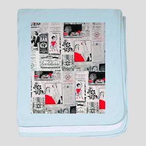 newspaper vintage baby blanket