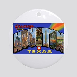 Houston Texas Greetings Ornament (Round)