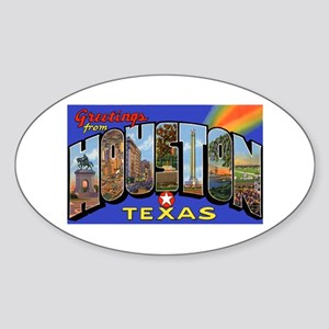 Houston Texas Greetings Oval Sticker