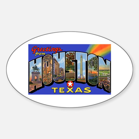 Houston Texas Greetings Oval Decal