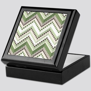 Green Native Pattern Keepsake Box