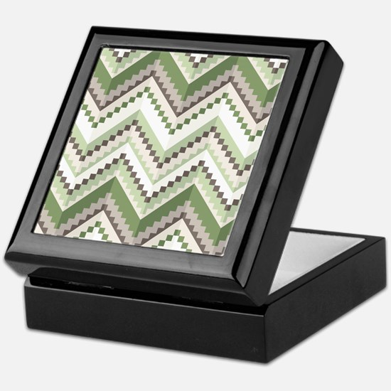 Green Native Pattern Keepsake Box