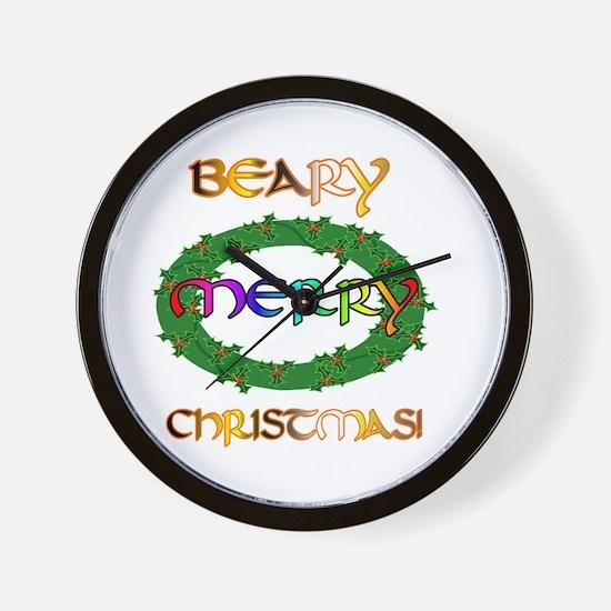 BEARY MERRY CHRISTMAS Wall Clock