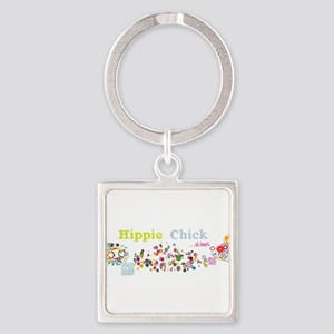 Hippie Chick at Heart Square Keychain