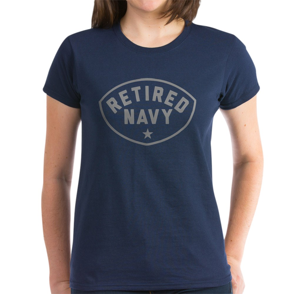 CafePress-Retired-Navy-Women-039-s-Dark-T-Shirt-Women-039-s-Cotton-T-Shirt-84039679 thumbnail 48