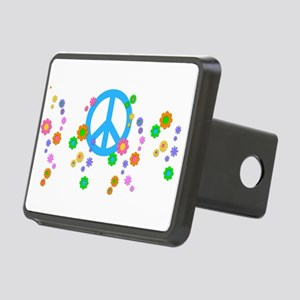 Peace sign and Flowers Rectangular Hitch Cover