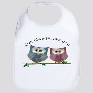 Owl always love cut cute Owls Art Bib