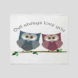 Owl always love cut cute Owls Art Throw Blanket
