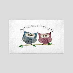 Owl always love cut cute Owls Art 3'x5' Area Rug