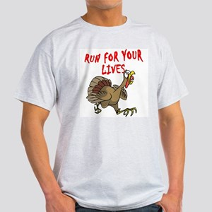 RUN FOR YOUR LIVES TURKEY Ash Grey T-Shirt
