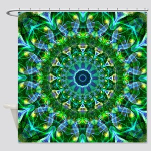 Green Spring Mandala Shower Curtain