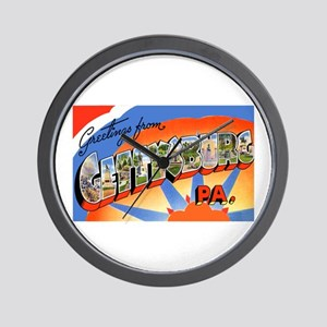 Gettysburg Pennsylvania Greetings Wall Clock