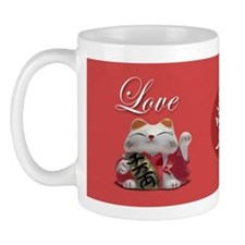 Japanese Fortune Cats Mug - Love