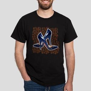 Blue Leopard Shoes Dark T-Shirt