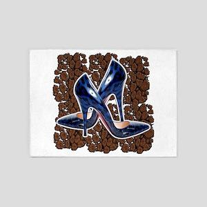 Blue Leopard Shoes 5'x7'Area Rug