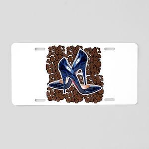 Blue Leopard Shoes Aluminum License Plate