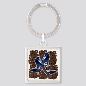 Blue Leopard Shoes Square Keychain