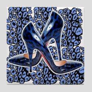 My BLue Leopard Pumps Tile Coaster
