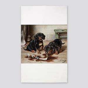 Adorable Dachshund Puppies 3'x5' Area Rug