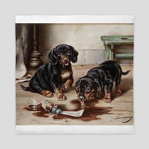 Adorable Dachshund Puppies Queen Duvet