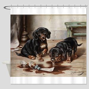 Adorable Dachshund Puppies Shower Curtain