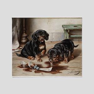 Adorable Dachshund Puppies Throw Blanket