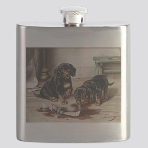Adorable Dachshund Puppies Flask