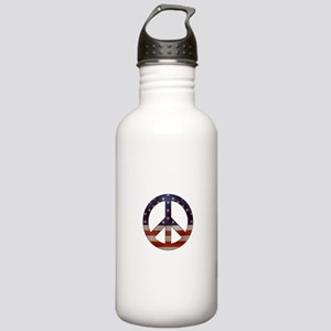 Weathered Flag Peace Sign Water Bottle