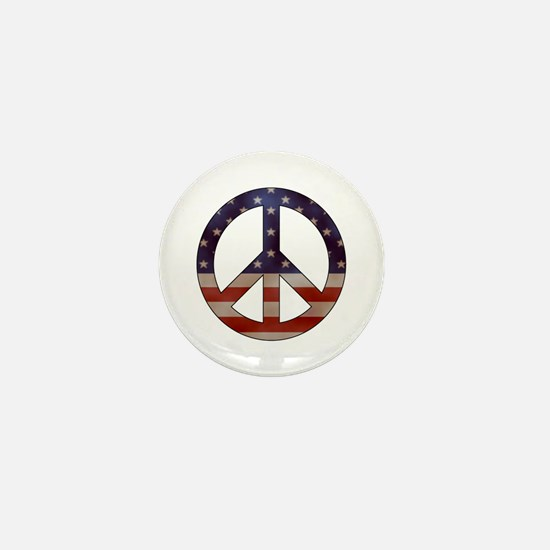 Weathered Flag Peace Sign Mini Button