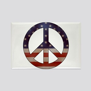 Weathered Flag Peace Sign Rectangle Magnet