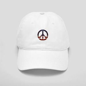 Weathered Flag Peace Sign Baseball Cap