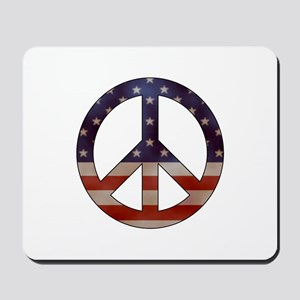 Weathered Flag Peace Sign Mousepad
