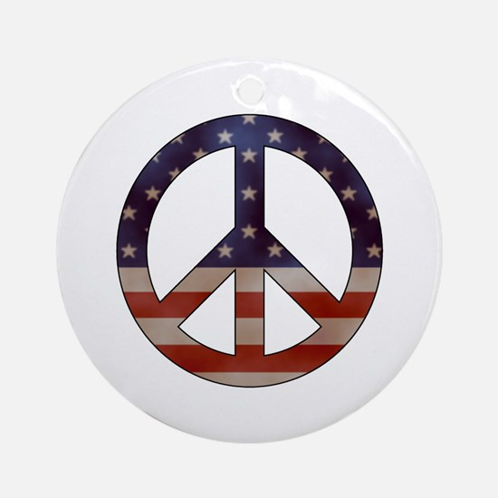 Weathered Flag Peace Sign Ornament (Round)