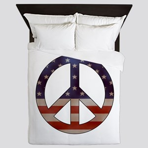 Weathered Flag Peace Sign Queen Duvet