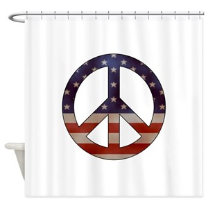 Peace Sign Flag Shower Curtains