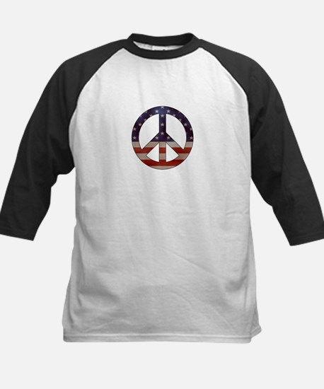 Weathered Flag Peace Sign Baseball Jersey